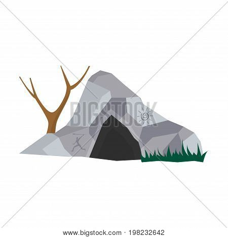 Cave in stone home for prehistoric people with entrance, bare tree and grass vector illustration isolated on white. Caveman place for living, house in rock for primitive person, ancient civilization