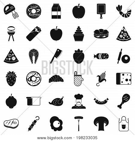 Delicious dish icons set. Simple style of 36 delicious dish vector icons for web isolated on white background