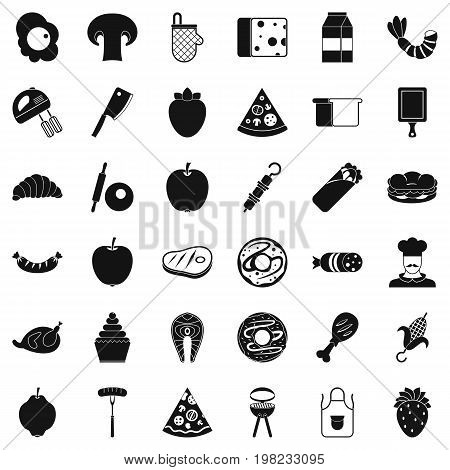 Meal dish icons set. Simple style of 36 meal dish vector icons for web isolated on white background