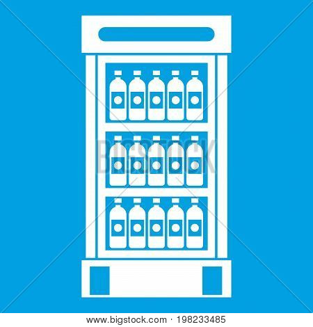 Fridge with refreshments drinks icon white isolated on blue background vector illustration