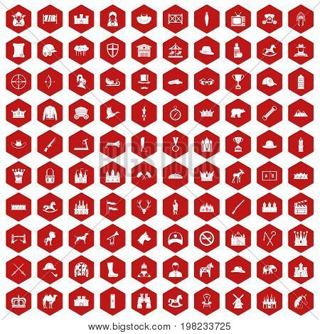 100 horsemanship icons set in red hexagon isolated vector illustration