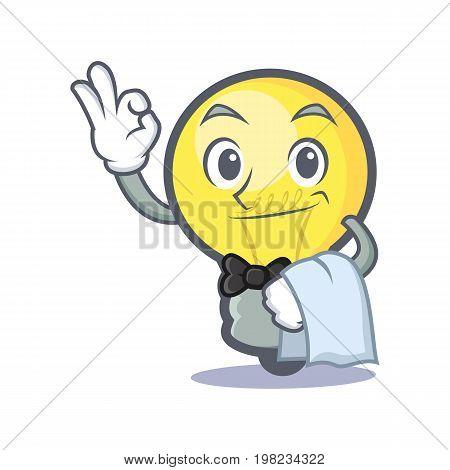 Waiter light bulb character cartoon vector illustration