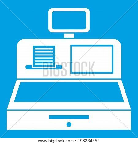 Cash register with cash drawer icon white isolated on blue background vector illustration