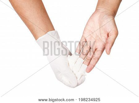 Hand throwing away white disposable gloves medical Isolated on white background Save clipping path. Infection control concept.
