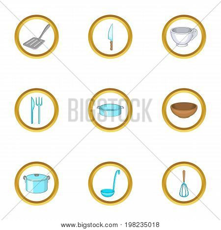 Kitchenware icons set. Cartoon set of 9 kitchenware vector icons for web isolated on white background