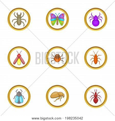 Forest insects icons set. Cartoon set of 9 forest insects vector icons for web isolated on white background