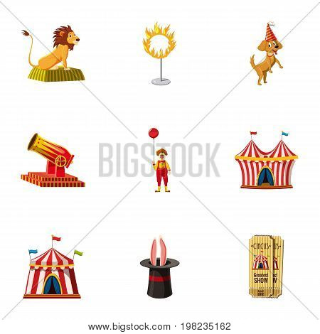 Circus equipment icons set. Cartoon set of 9 circus equipment vector icons for web isolated on white background