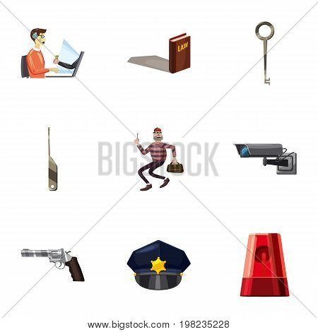 Law icons set. Cartoon set of 9 law vector icons for web isolated on white background
