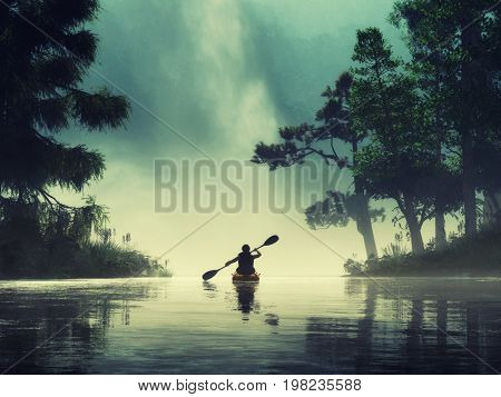 Man kayaking on a lake wild. This is a 3d render illustration