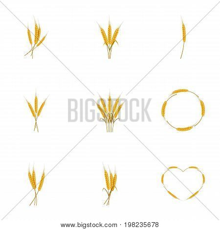 Wheat ears or rice icons set. Cartoon set of 9 wheat ears or rice vector icons for web isolated on white background