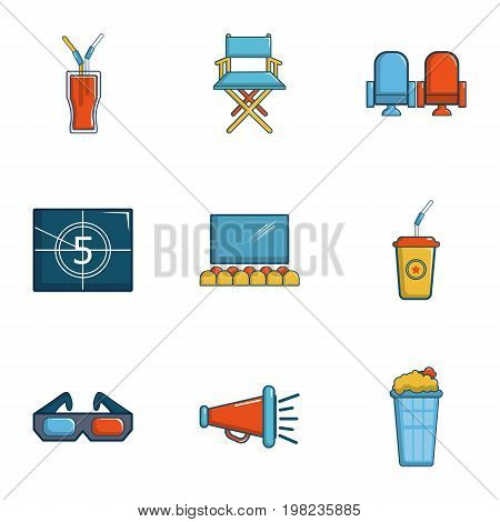 Cinematography icons set. Cartoon set of 9 cinematography vector icons for web isolated on white background