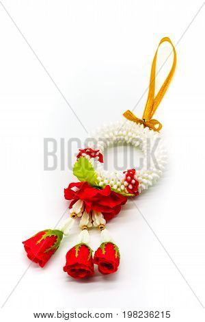 Thai Plastic Garland Decorated With Fabric Red Rose Isolated On White Background