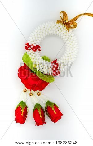 Thai Plastic Garland Decorated With Fabric Red Rose Isolated On White