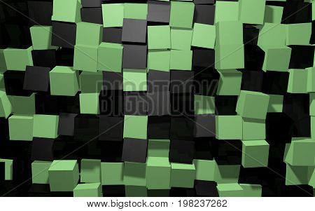 Abstract beautiful creative background of black and green extended and dented random rotated cubes wall with reflections for desktop site banner backdrop wallpapper. 3d Render Illustration