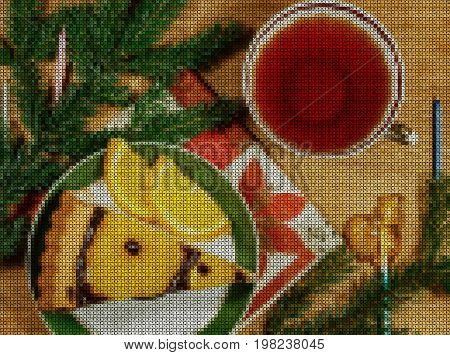 Illustration. Cross stitch. New Year 2018. Slice cake with orange slices and chocolate syrup on the plate. Cup of tea. Composition on wooden background with fir branches and Christmas decorations.