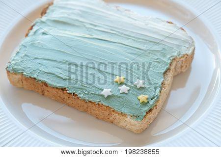 Star And Mermaid Spirulina Blue Creamcheese Toast Breakfast, Fun Healthy Food Art For Kids