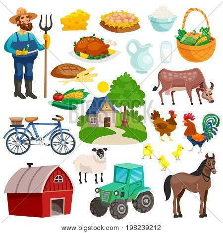 Collection of rural decorative cartoon icons with farmer with pitchfork farm animals  and dishes from natural products isolated vector illustration