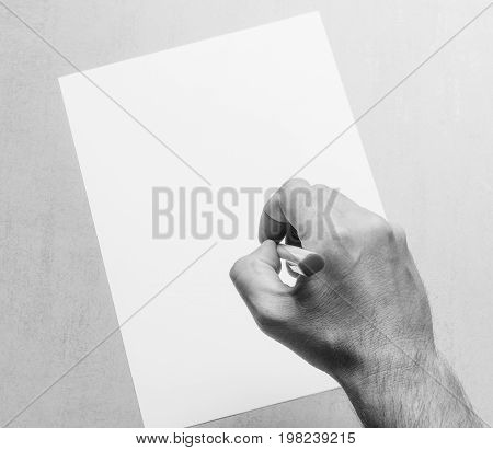 Mans hand with a ballpoint pen and blank white sheet of paper on a gray background top view close-up. black and white photo.mock up for text congratulations phrases lettering