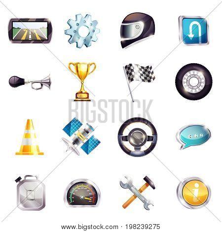 Set of auto racing elements including steering wheel, helmet, flag, road cone, speedometer, trophy isolated vector illustration