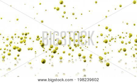 3D illustration of Many Tennis balls raining with a reflecting floor and a white background