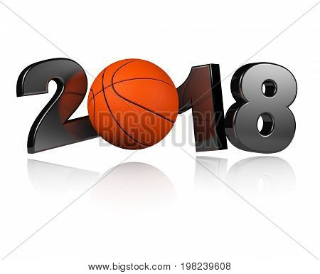 3D illustration of One Basketball 2018 Design with a white Background