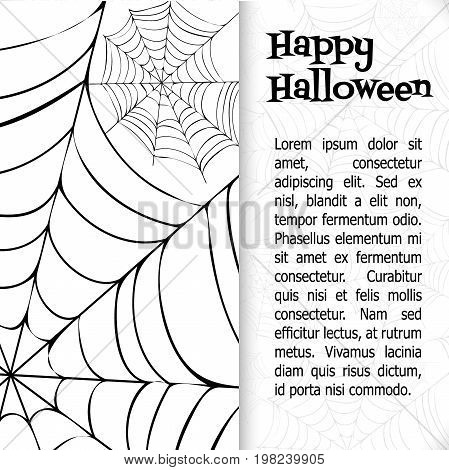 Spider's web. Black and white vector bacground for halloween