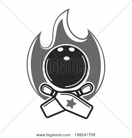 Monochrome bowling club promotional emblem. Heavy ball with holes for finger, crossed skittles with stripes and star, and powerful flame behind isolated vector illustration on white background.