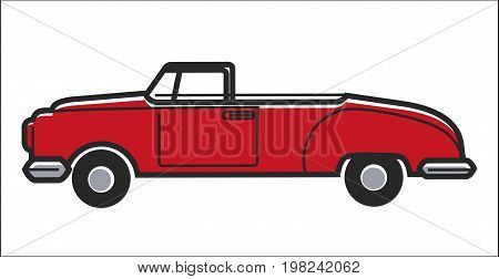 Vector illustration of red colored retro cabriolet car isolated on white.