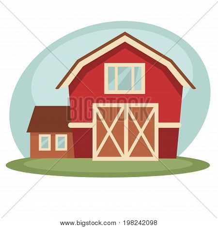 Vector illustration of red colored barn and house on farm.