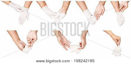 Step of hand throwing away white disposable gloves medical Isolated on white background. Infection control concept.