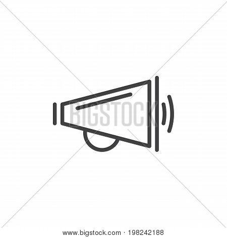 Megaphone line icon, outline vector sign, linear style pictogram isolated on white. Announcement symbol, logo illustration. Editable stroke. Pixel perfect vector graphics