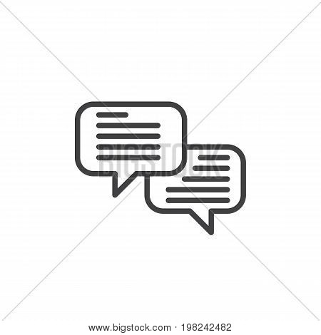 Speech bubbles line icon, outline vector sign, linear style pictogram isolated on white. Comments symbol, logo illustration. Editable stroke. Pixel perfect vector graphics