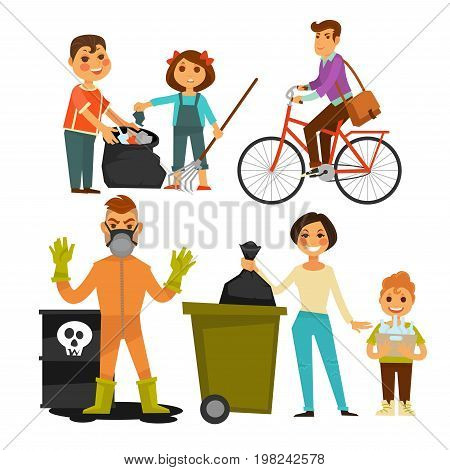 People removing garbage outdoor street. Man and woman with children gathering trash and wastes into garbage bin. Ecology protection and nature conservation concept. Vector flat isolated icons set