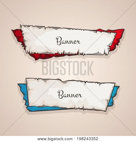 Old banners vector collection. Vintage torn paper and labels.