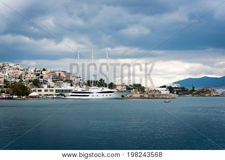 Luxury motorboat at the dock. Marina Zeas Piraeus Greece