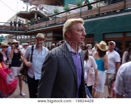 WIMBLEDON, ENGLAND - JUNE 24: Boris Becker arrives at the Wimbledon Lawn Tennis Championship on June 24, 2010. Boris Becker is a former Wimbledon champion,