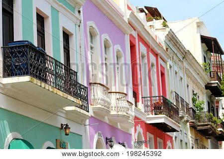 Colorful architecture in Old Town San Juan Puerto Rico