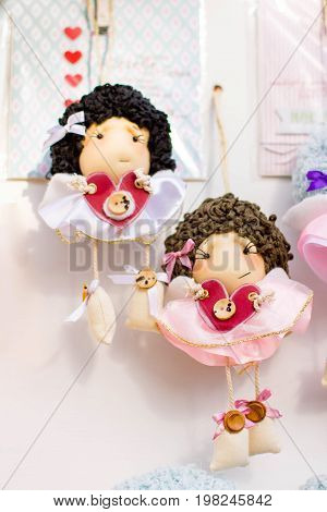 handmade dolls, two doll girls, doll textile