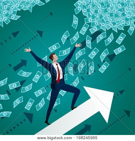 The businessman rises on the shooter up, towards to success, the purposes and money. Business concept. Vector flat illustration.