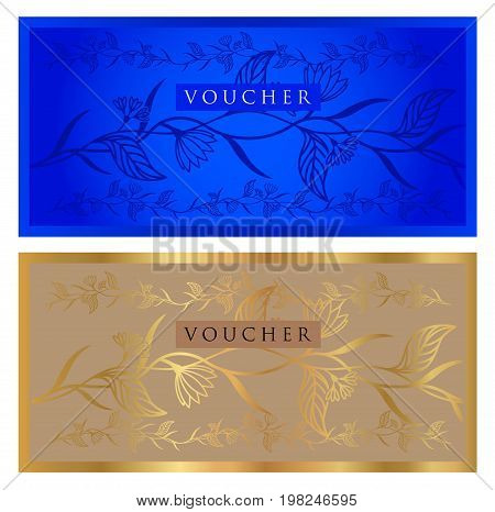 Voucher, Gift certificate, Coupon, ticket template. Guilloche pattern (watermark, spirograph). Background for banknote, money design, currency, bank note, check (cheque), ticket. Gold, blue vector