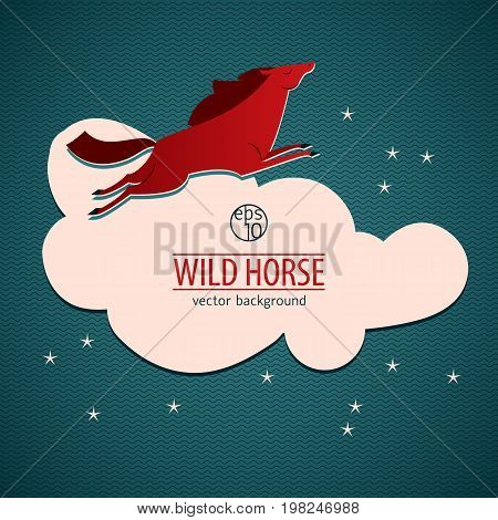Red wild horse emblem or sticker with big white cloud and red horse jumping vector illustration