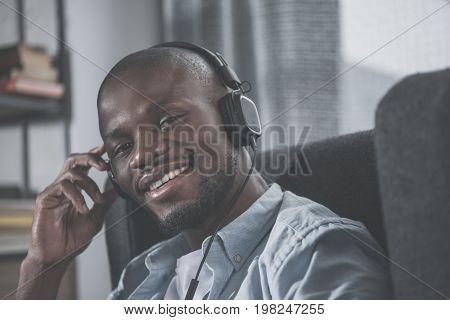 African American Man Listening Music