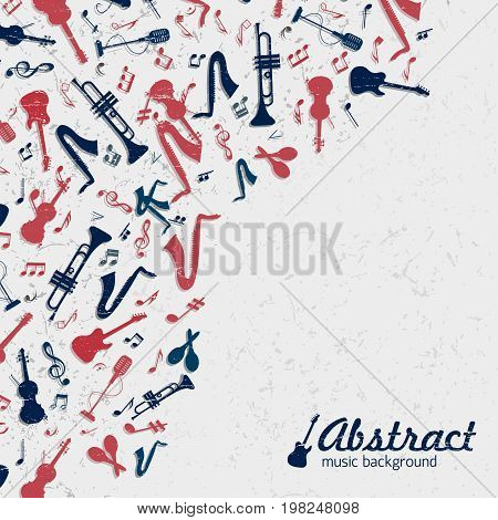 Colored music background with musical instruments on the left side on a white background vector illustration