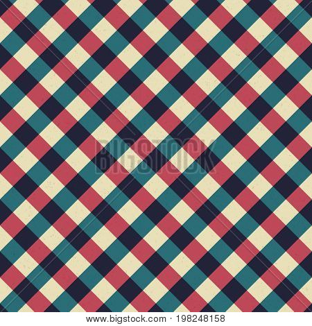 Vintage tablecloth seamless pattern. Retro background from diagonal red and blue lines.