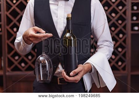 Sommelier With Wine And Glass
