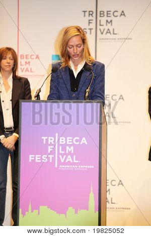 NEW YORK - APRIL 21 : Actress Actress Uma Thurman gives a speech at Tribeca Film Festival opening April 21, 2009 in New York. The festival was founded in 2002 by Jane Rosenthal and Robert De Niro.