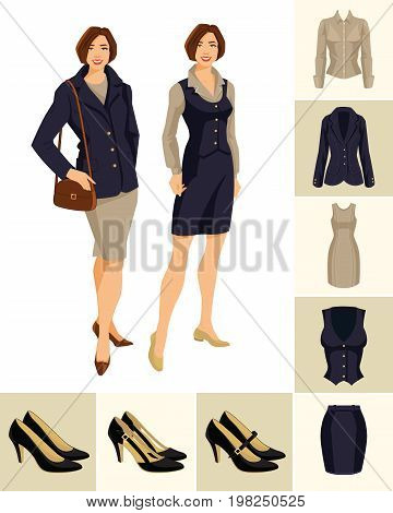 Vector illustration of young pretty women in formal clothes on white background. Variations models of shoes and clothes on color background