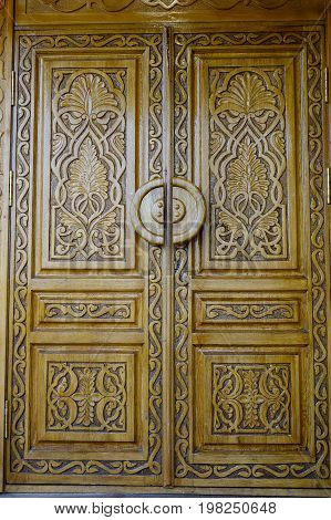Wooden Door Of An Old Building In Moscow, Russia
