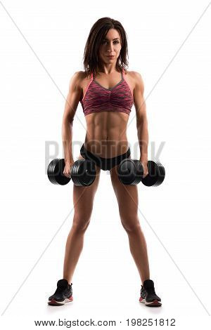 Full length shot of a beautiful young athletic woman pumping iron lifting heavy dumbbells working out isolated on white sportswear sportsperson motivation healthcare fitness concept.