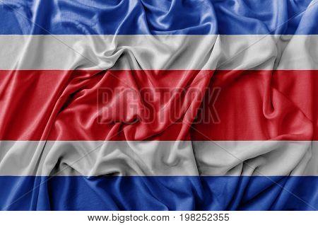 Ruffled waving Costa Rica flag national flag